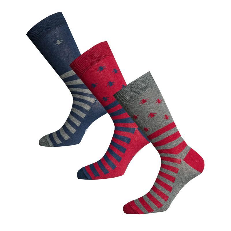 Ponožky Original Penguin Mens Striped 3 Pack Socks Grey