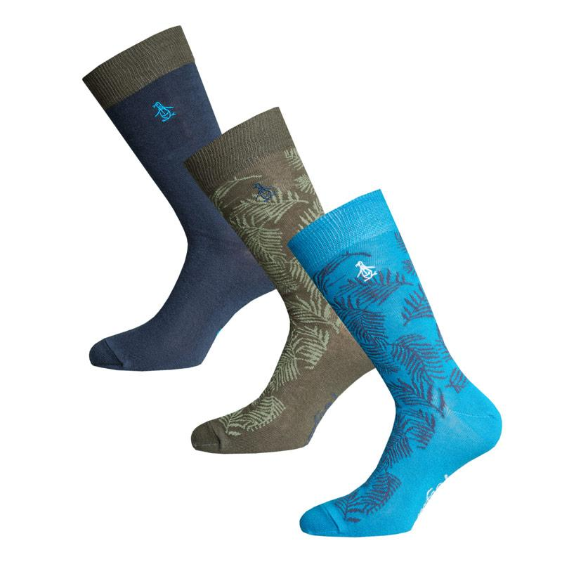 Ponožky Original Penguin Mens Tropical Leaf 3 Pack Socks Khaki