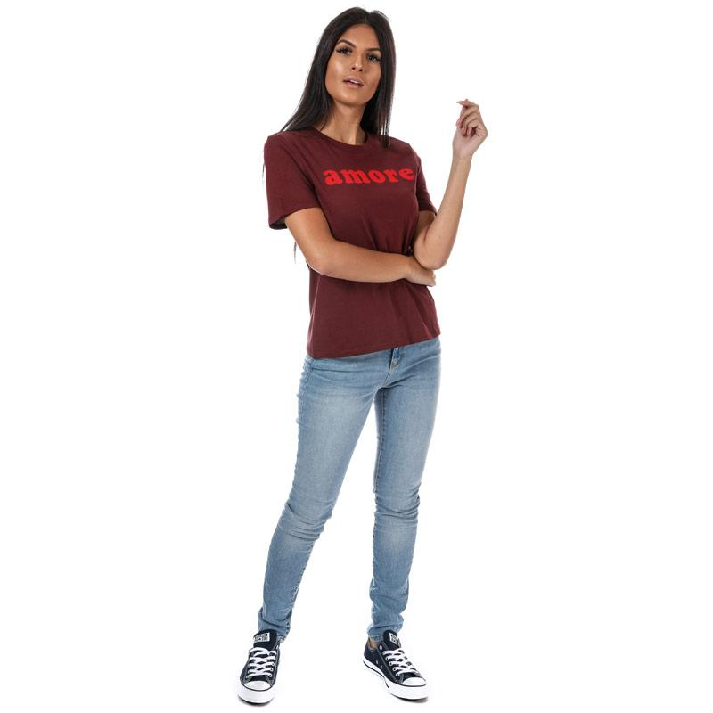 Only Womens Ava Slogan T-Shirt White