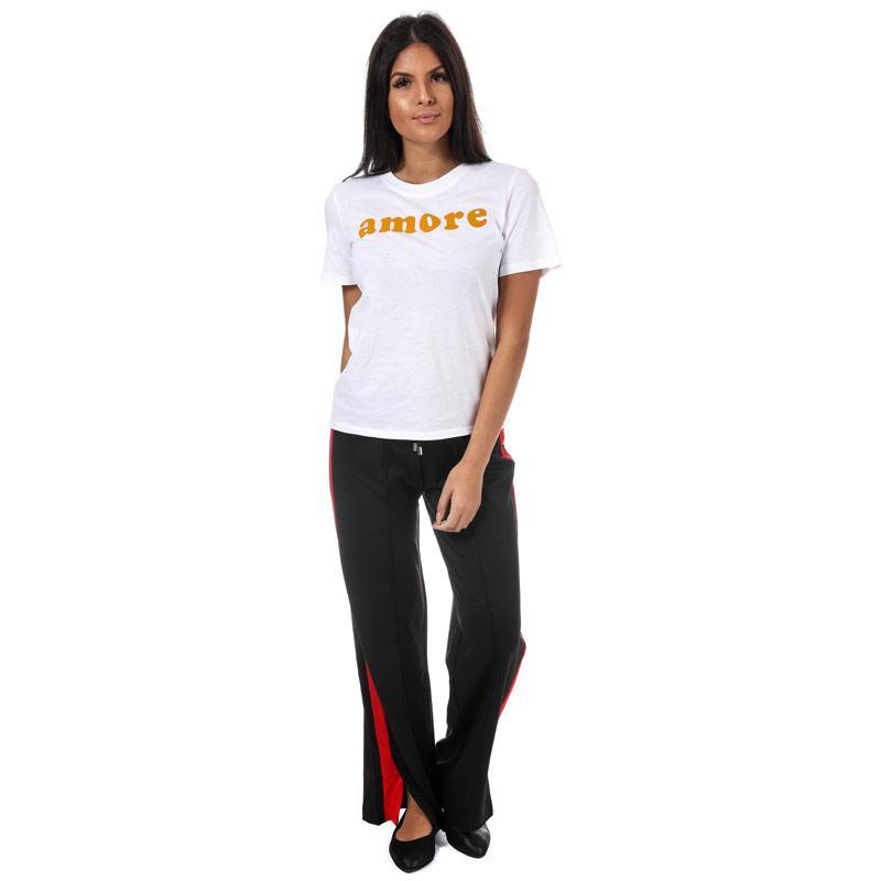Only Womens Ava Slogan T-Shirt Berry