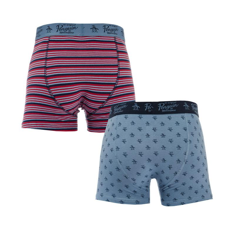 Spodní prádlo Original Penguin Mens All Over Print Stripe 2 Pack Boxer Shorts Denim
