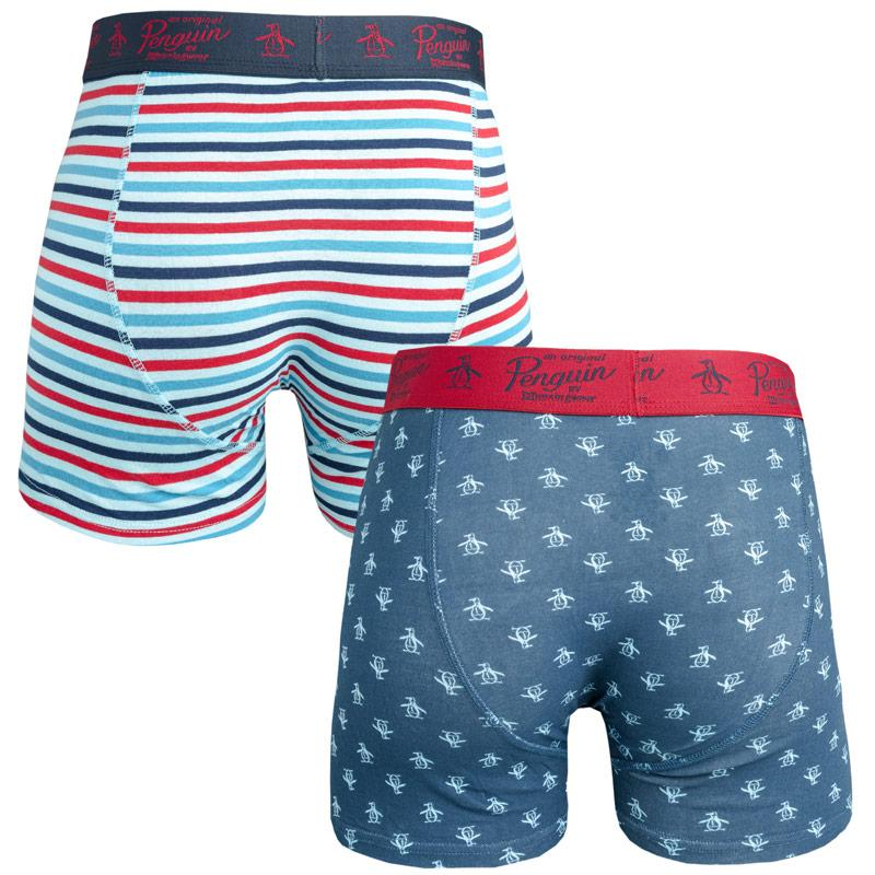 Spodní prádlo Original Penguin Mens All Over Print Stripe 2 Pack Boxer Shorts Navy Red