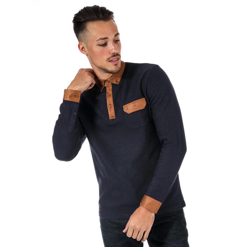 Gabicci Vintage Mens Bass Long Sleeve Alcantara Polo Shirt Navy