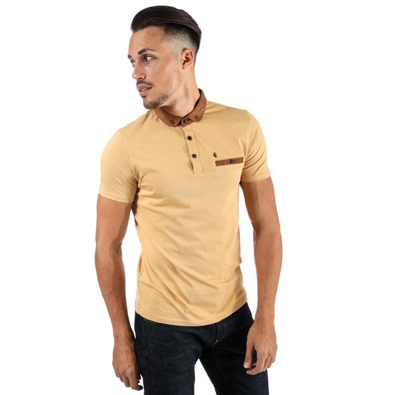 Gabicci Vintage Mens Beckenham Penny Collar Polo Shirt Honey