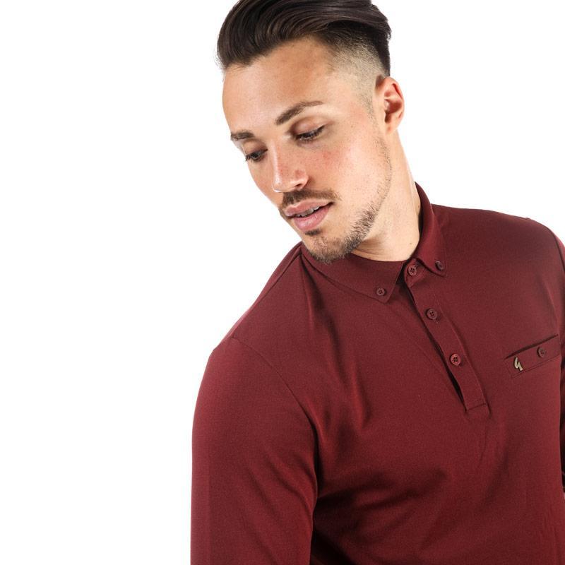 Gabicci Vintage Mens Britman Long Sleeve Polo Shirt Red