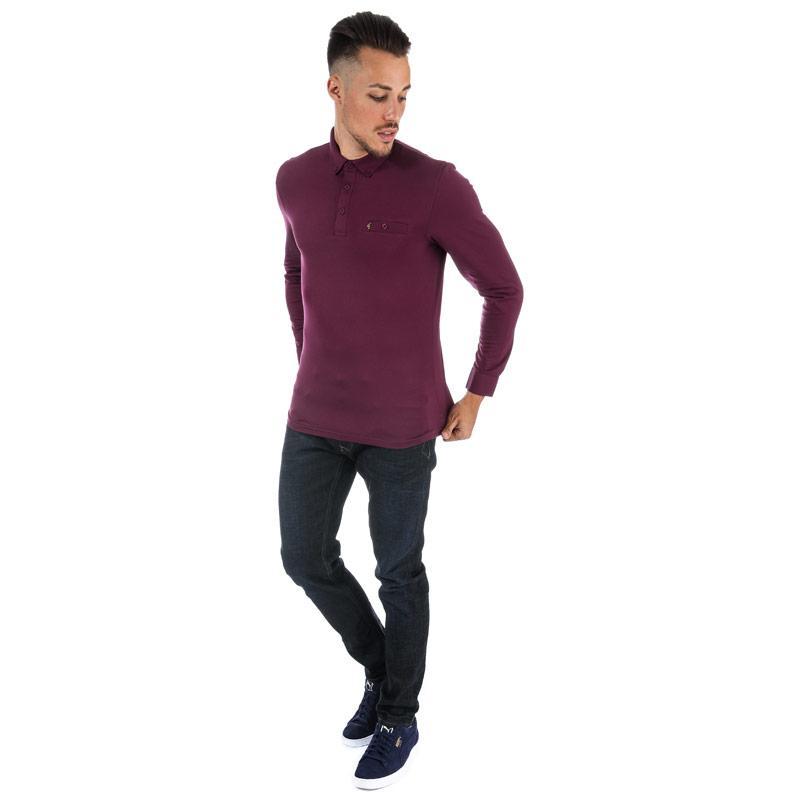 Gabicci Vintage Mens Britman Long Sleeve Polo Shirt Berry
