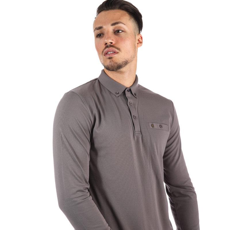 Gabicci Vintage Mens Britman Long Sleeve Polo Shirt Grey