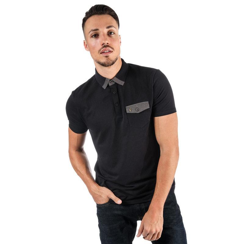 Gabicci Vintage Mens Grove Needle Out Polo Shirt Black