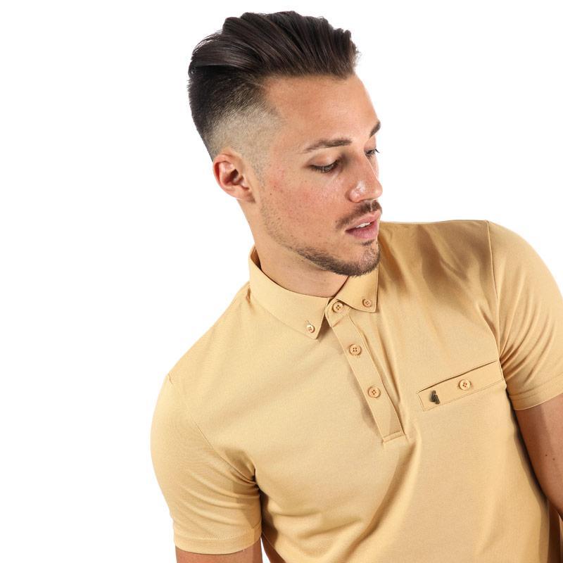 Gabicci Vintage Mens Ladro Button Down Collar Polo Shirt Honey
