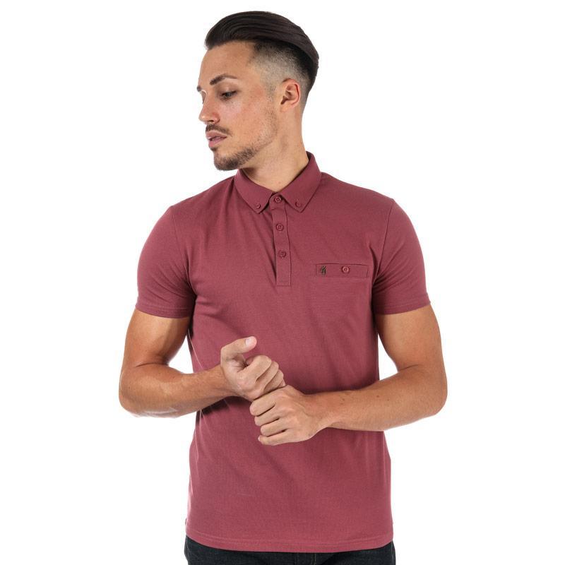 Gabicci Vintage Mens Ladro Button Down Collar Polo Shirt Red