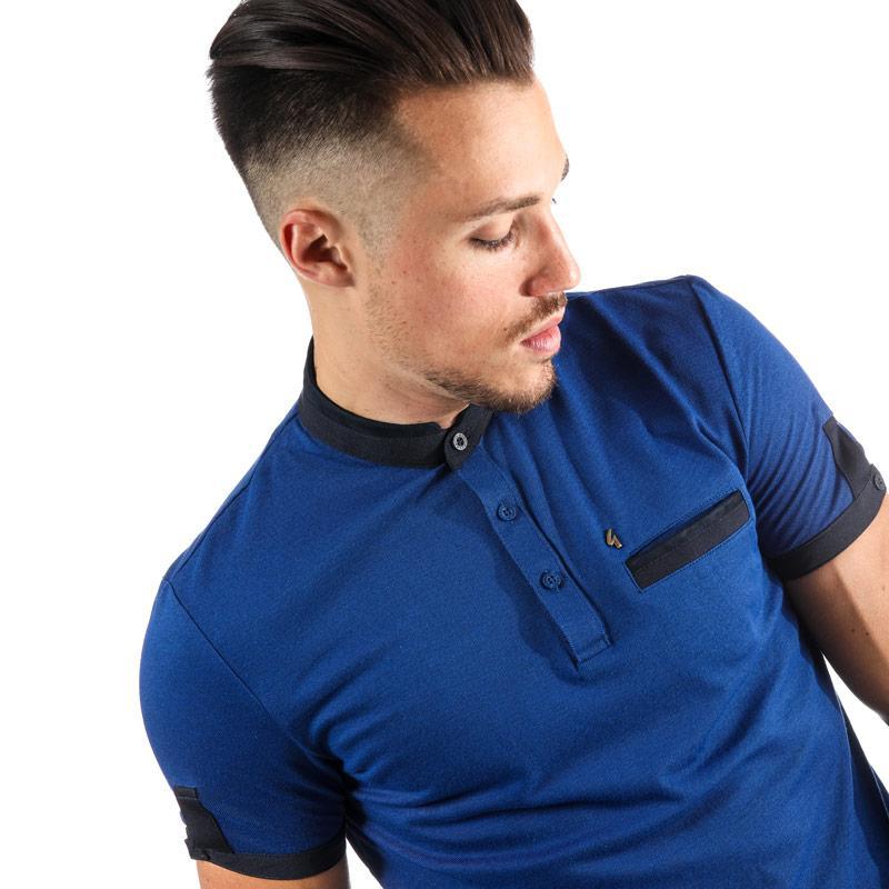 Gabicci Vintage Mens Salford Colllar Stand Polo Shirt Royal Blue