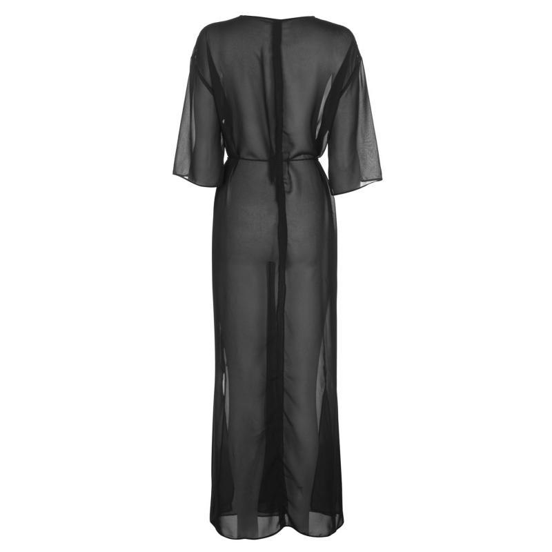 Golddigga Maxi Kimono Ladies Black