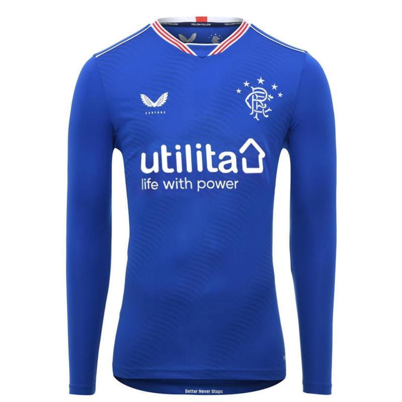 Castore Rangers Home Long Sleeve Shirt 2020 2021 Junior Blue