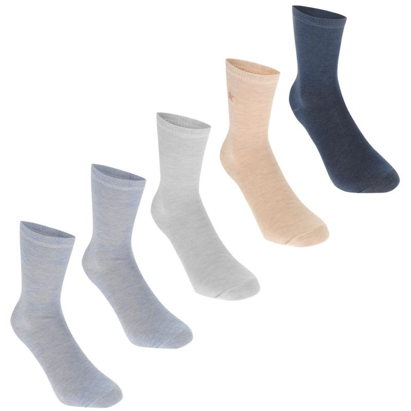 Ponožky Crafted Essentials 5 Pack Marl Socks Infant Boys Blue Marls