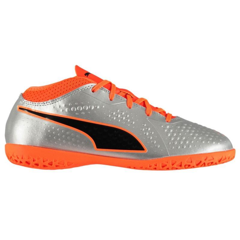 Puma ONE 4 Junior Indoor Football Trainers Silver/Orange