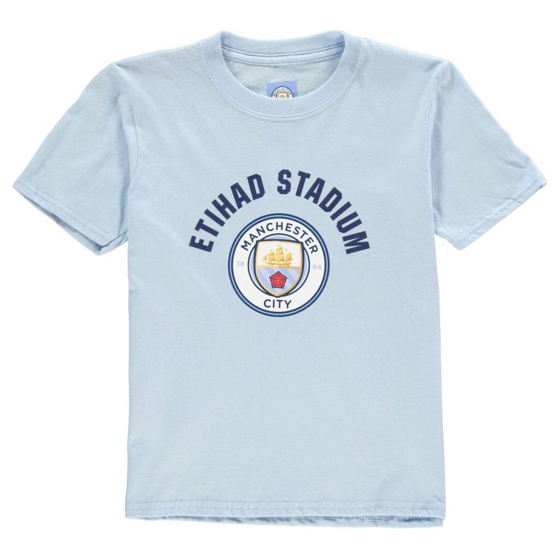Source Lab Manchester City FC Crest T Shirt Junior Boys Sky Blue