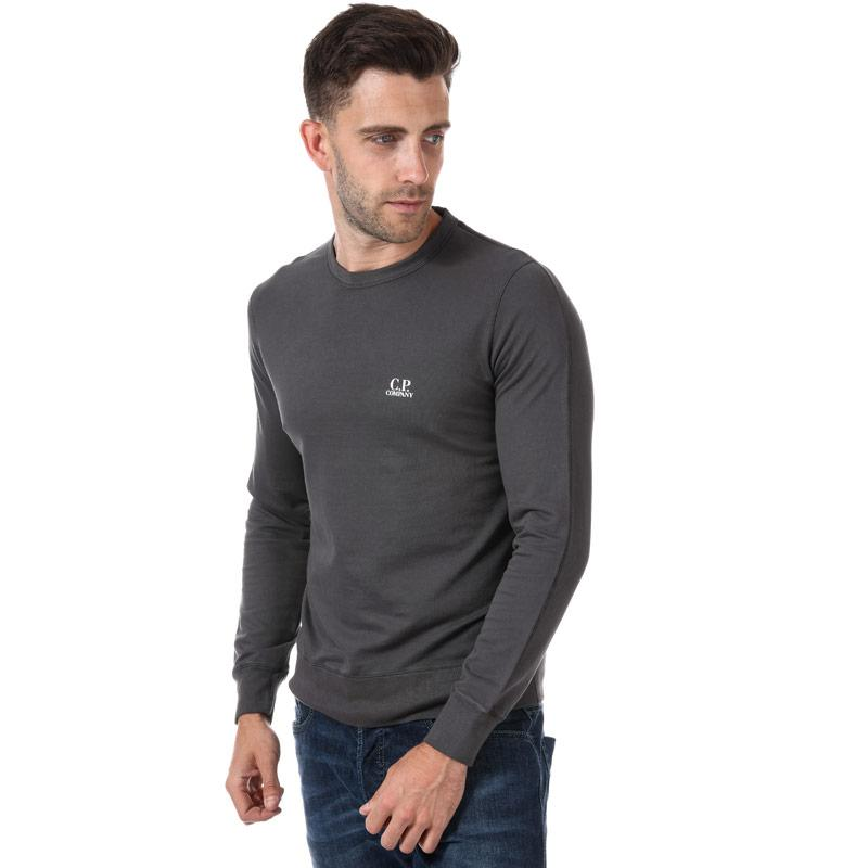 Mikina C.P. Company Mens Chest Logo Crew Neck Sweatshirt Charcoal