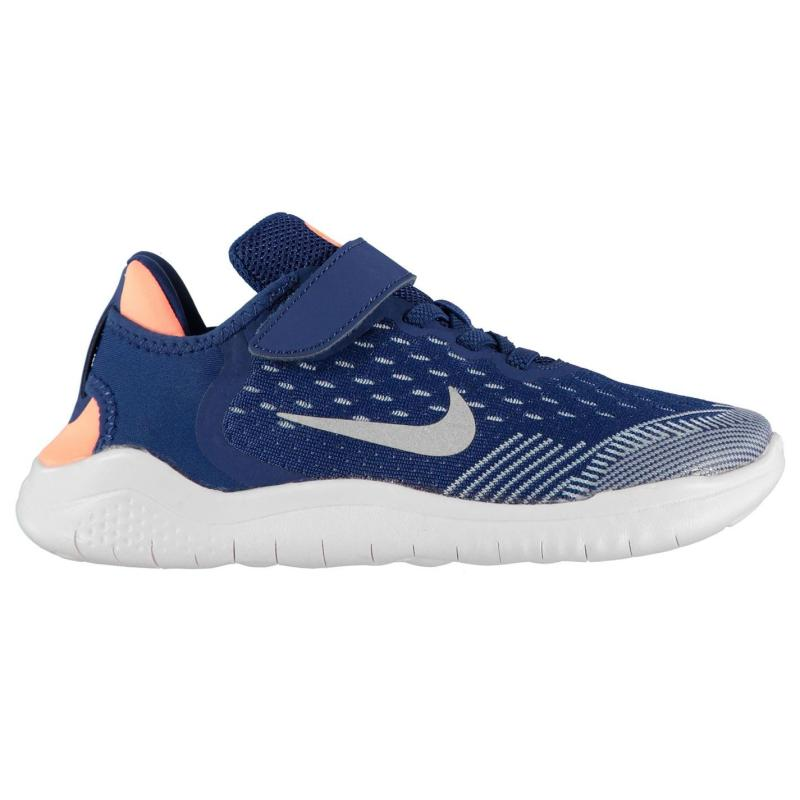 Nike Free RN 2018 Girls Running Shoes Blue/Silver
