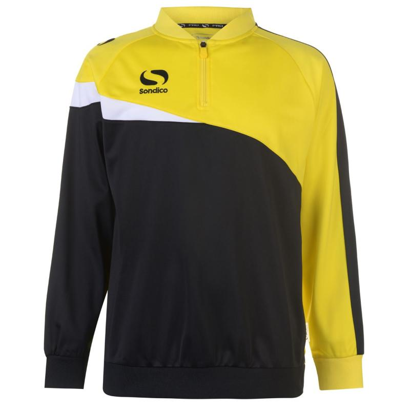 Mikina Sondico Zip Training Top Mens Black/Yellow