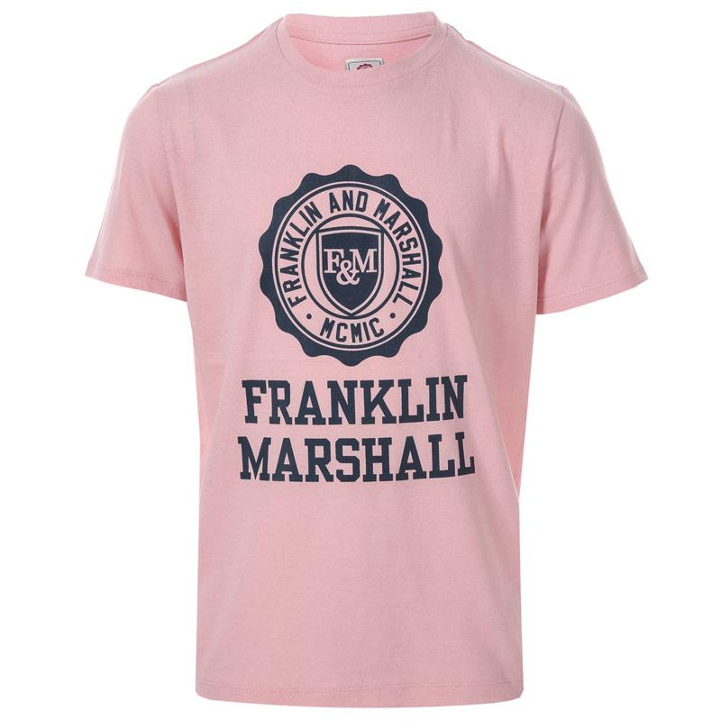 Tričko Franklin And Marshall Infant Boys F and M Logo T-Shirt Pink