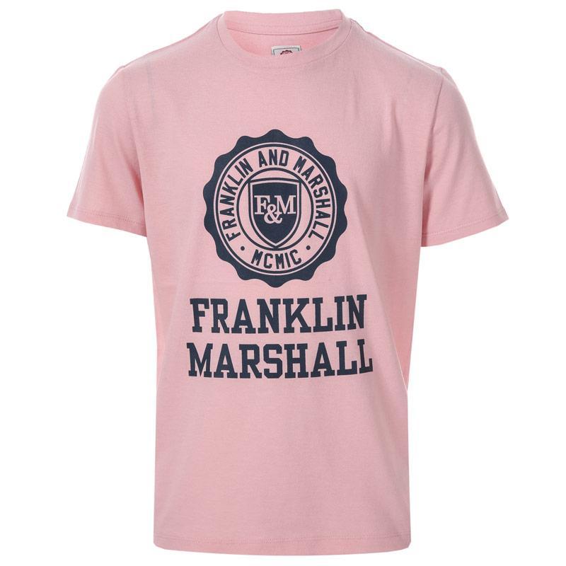 Tričko Franklin And Marshall Junior Boys F and M Logo T-Shirt Pink