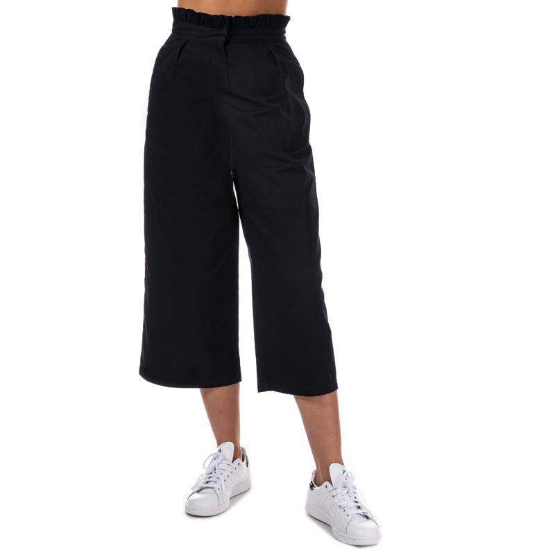 Kalhoty Daisy Street Womens Frill Waist Cropped Trousers Navy