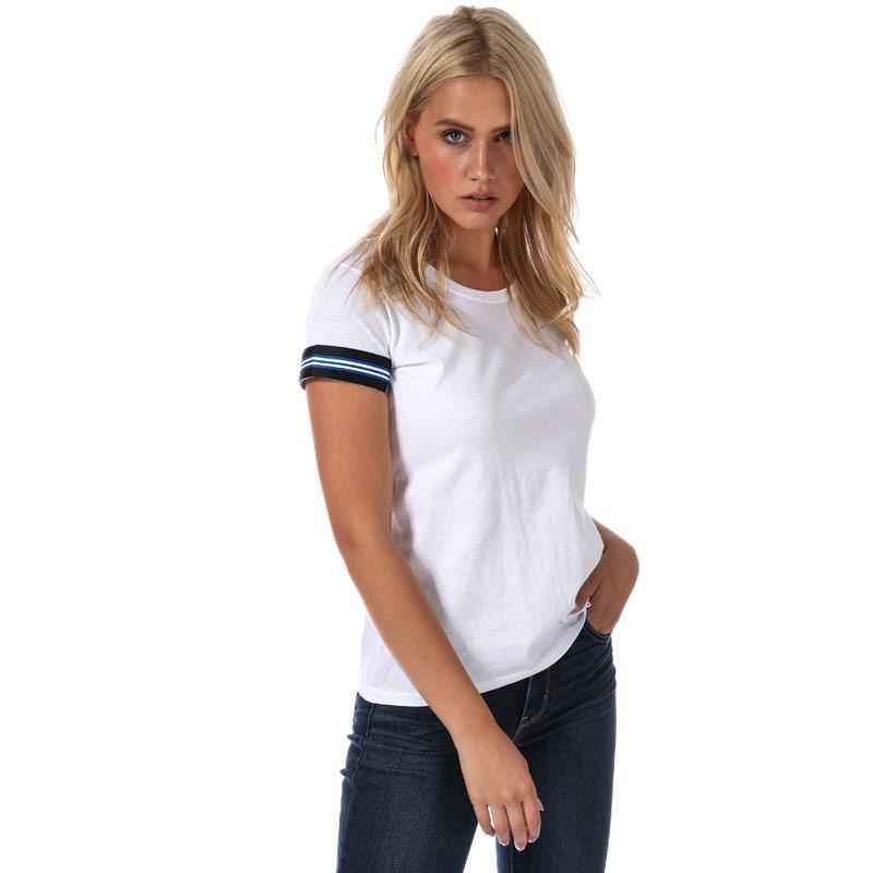 Daisy Street Womens Stripe Trim T-Shirt White