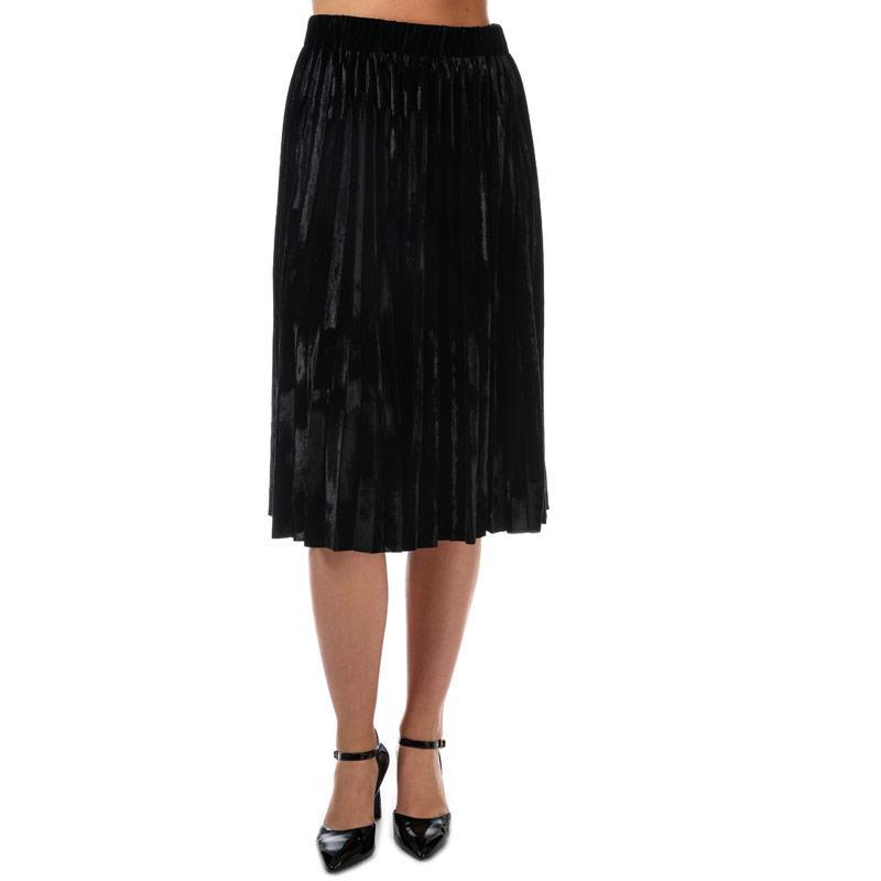 Sukně Yumi Womens Velvet Pleated Skirt Black