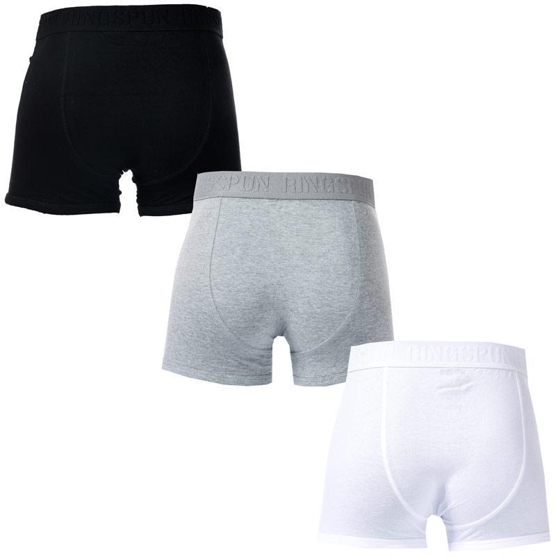 Spodní prádlo Ringspun Mens Emmat 3 Pack Boxer Shorts Black Grey