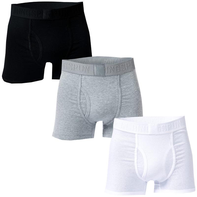 Spodní prádlo Ringspun Mens Emmat 3 Pack Boxer Shorts Black