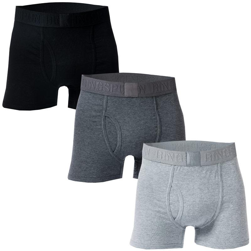 Spodní prádlo Ringspun Mens Emmat 3 Pack Boxer Shorts Black Grey White