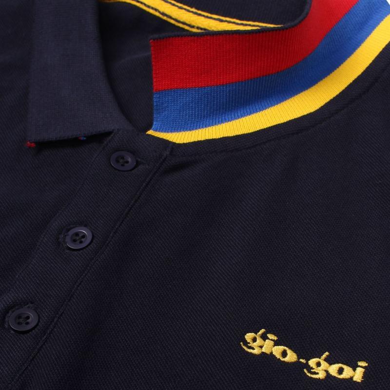 Mikina Gio Goi Striped Polo Shirt Navy