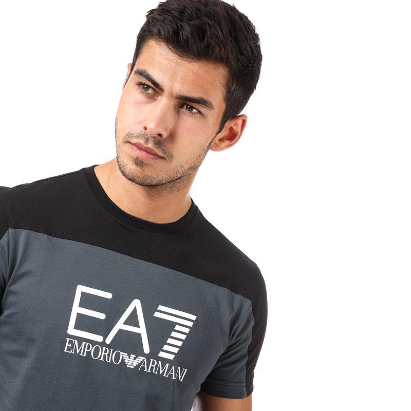 Tričko Emporio Armani EA7 Mens Train Tritonal T-Shirt Charcoal
