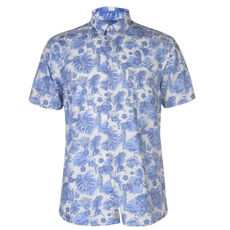 Pierre Cardin Blue Short Sleeve Shirt Mens White/Blue Trop
