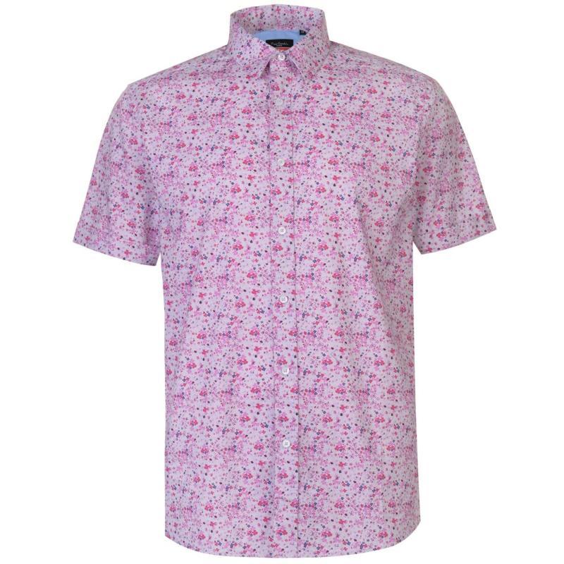 Pierre Cardin Ditsy Short Sleeve Shirt Mens Pink