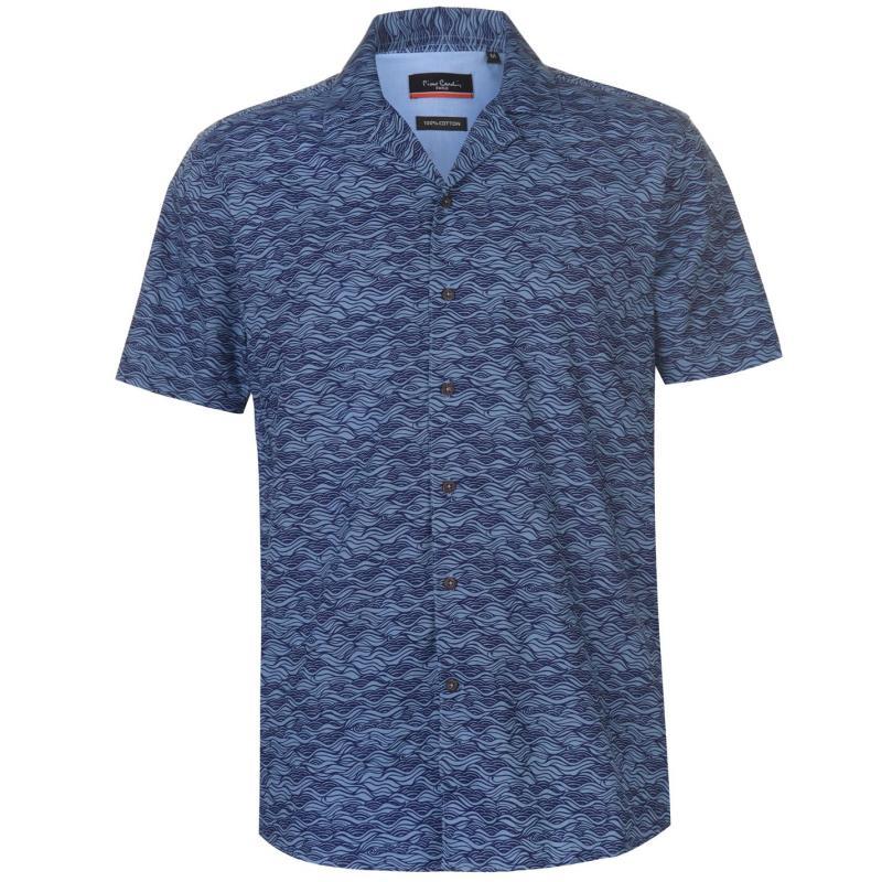 Pierre Cardin Reverse Geometric Print Short Sleeve Shirt Mens Blue