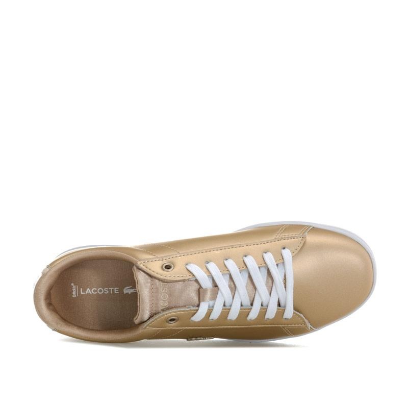 Lacoste Womens Carnaby Evo Metallic Trainers Gold
