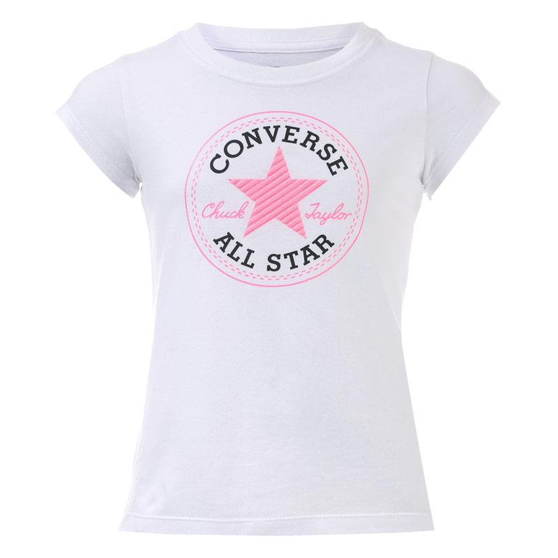 Converse Infant Girls Chuck Patch T-Shirt White