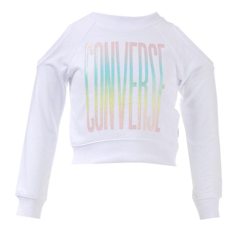 Converse Infants Girls Cold Shoulder Cropped Crew Sweat White