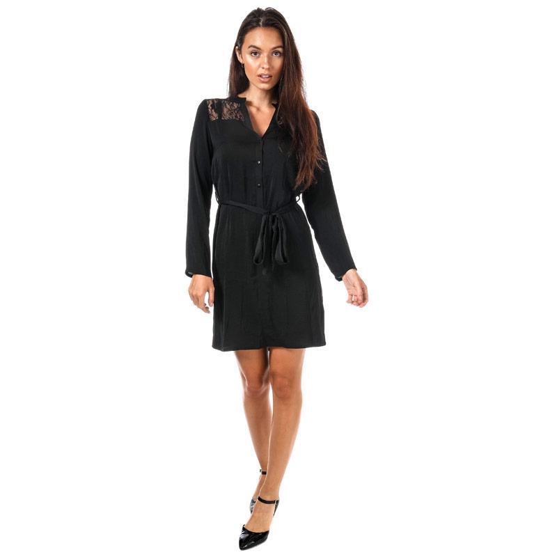 Šaty Mela London Womens Lace Shoulder Shirt Dress Black