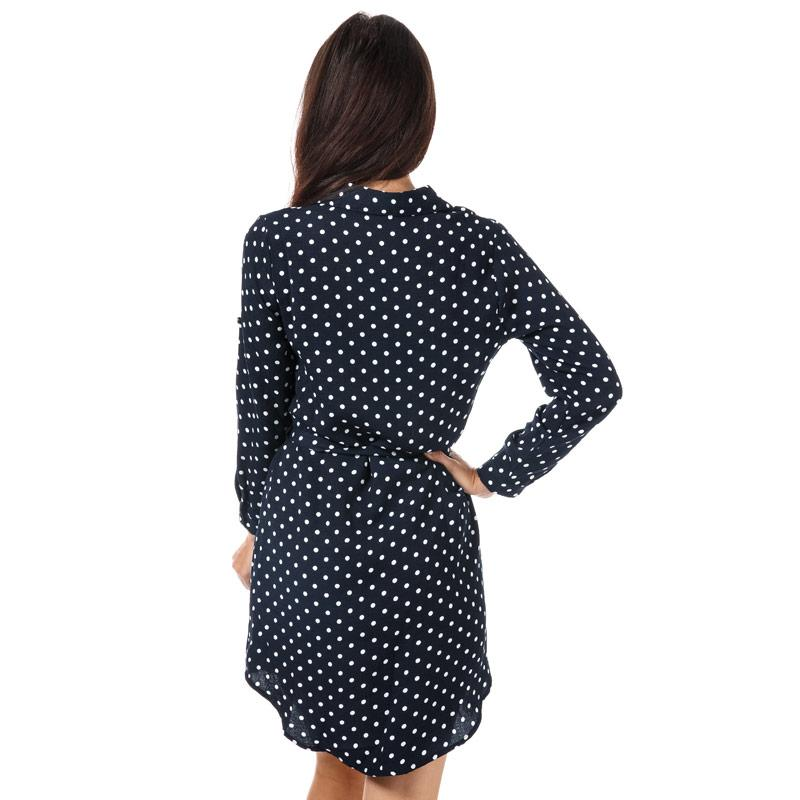 Šaty Mela London Womens Polka Dot Shirt Dress Navy