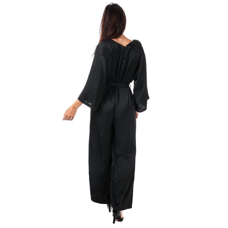 Mela London Womens Satin 3 Quarter Sleeve Jumpsuit Black