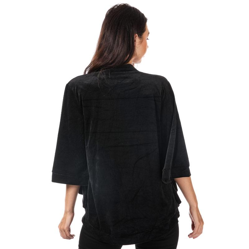 Mela London Womens Velvet Kimono Jacket Black