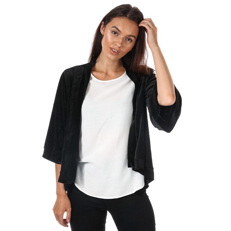 Mela London Womens Velvet Kimono Jacket Black