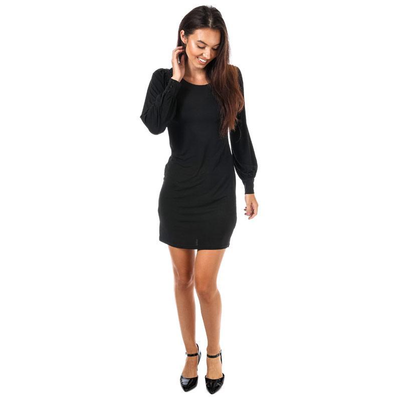 Šaty Mela London Womens Beaded Shoulder Dress Black