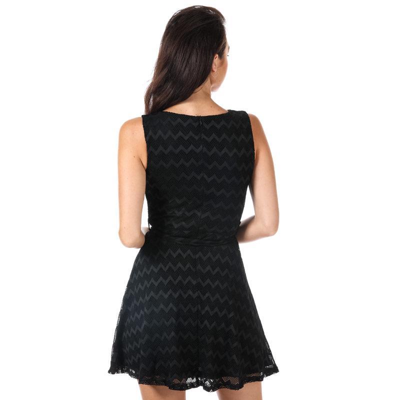 Šaty Mela London Womens Embellished Neck Skater Dress Black