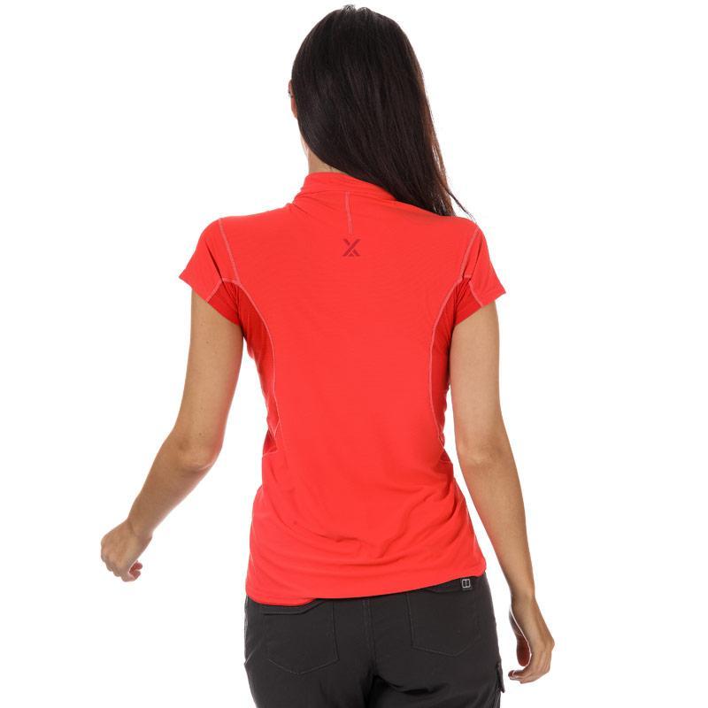 Berghaus Womens Super Zip Neck Tech T-Shirt Coral