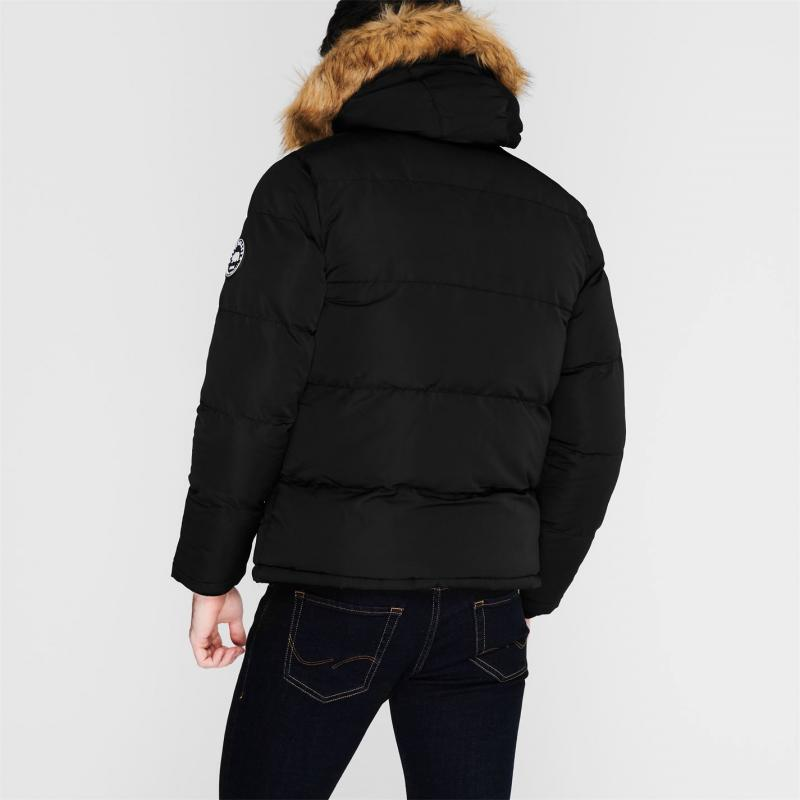 SoulCal 2 Zip Bubble Jacket Mens Black