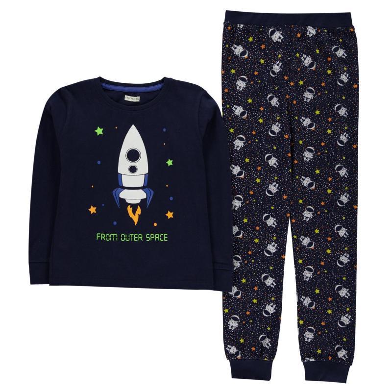 Pyžamo Crafted Essentials Jersey Pyjamas Child Boys Navy Space