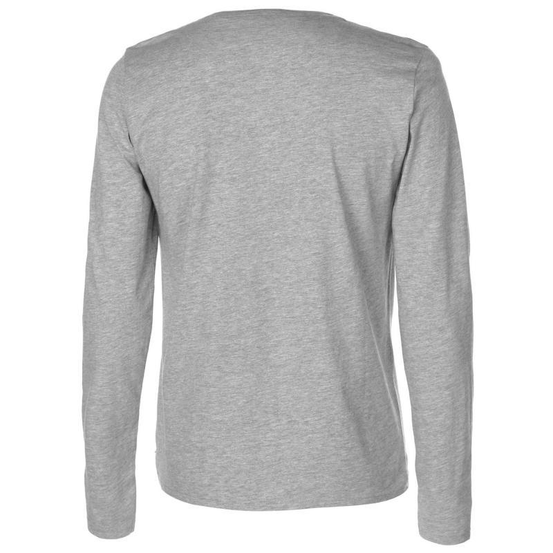 Lee Cooper Chambray Button T Shirt Mens Grey Marl